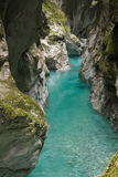 Traveling to wonderful nature in slovenia, canyon with turquoise river in julian alps Stock Photo