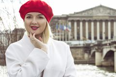 Fashion portrait of young beautiful woman in Paris. Royalty Free Stock Photo