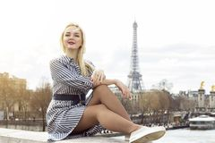 Fashion portrait of young beautiful woman in Paris. Stock Photos