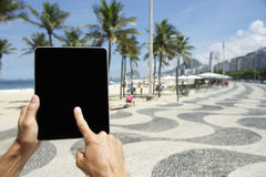 Traveling Tourist Using Tablet in Rio de Janeiro Brazil Stock Photos