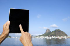 Traveling Tourist Using Tablet at Sugarloaf Rio de Janeiro Brazil Royalty Free Stock Photos
