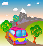 Traveling toy bus Royalty Free Stock Photography