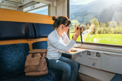 Traveling by train at the Alpine Railroad Royalty Free Stock Image