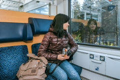 Traveling by train at the Alpine Railroad. Royalty Free Stock Image