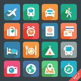 Traveling and transport Flat icons. Icon set for Web and Mobile Applications Stock Photography