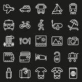 Traveling and transport icon set. Traveling and transport icons for Web and Mobile App. Vector illustration on black background Stock Photos