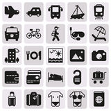 Traveling and transport icon set. Traveling and transport icons for Web and Mobile App. Vector illustration on button Stock Images