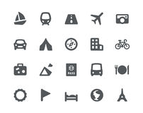 Traveling and transport icons set. 20 Traveling and transport simple icons Stock Image