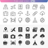 Traveling and transport line icon set. Trendy thin line icons for web and mobile. Normal and enable state Royalty Free Stock Photos