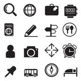 Traveling and transport silhouette icons set Stock Photos
