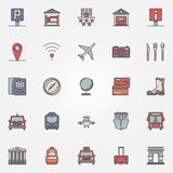 Traveling or travel colorful icons set Royalty Free Stock Images