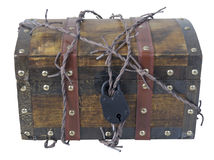 Traveling Trunk with Barbed Wire and Padlock Stock Image