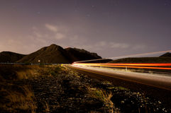 Traveling up the Mountain Road at Night Royalty Free Stock Photos