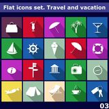 Traveling and vacarion Flat icons Stock Photos