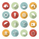 Traveling and vacation flat icons Stock Images
