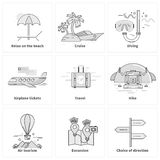 Traveling Vacation Journey Icons Stock Image