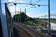 Traveling from Verona to Milano by train. With beautifull view Stock Photography