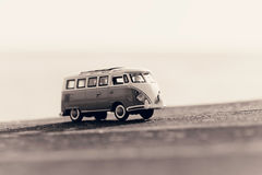Traveling vintage camper van. Macro photo. Sepia toned image Royalty Free Stock Images