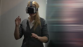 Traveling in virtual space with special headset stock video footage