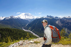 Traveling in Washington. Mt Rainer hiking trail Royalty Free Stock Photo
