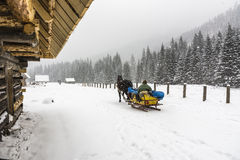 Traveling in winter in the mountains Stock Photography
