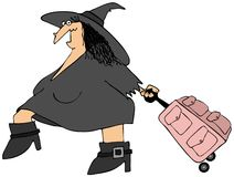 Traveling witch Royalty Free Stock Image
