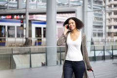 Traveling woman traveling with mobile phone Stock Photo