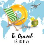 Traveling. World map. Airplane. Isolated vector object on white background. Lettering. Stock Images