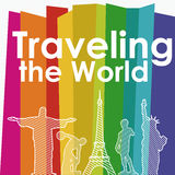 Traveling the world. Over colorful background vector illustration Stock Image
