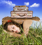 Traveling young woman resting Stock Photo