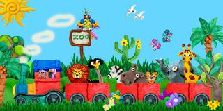Traveling Zoo Animals 3D Rendering Children Banner Illustration Stock Photos