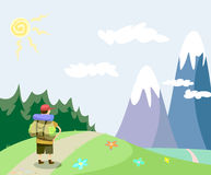 Traveller. Tourist walking in the mountains vector illustration