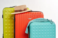 Traveller accessories and suitcases. Royalty Free Stock Photo