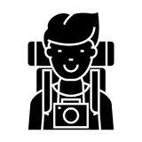 Traveller - active tourist with camera and backpack icon, vector illustration, black sign on isolated background Stock Image