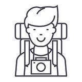 Traveller,active tourist with camera and backpack vector line icon, sign, illustration on background, editable strokes Royalty Free Stock Photo