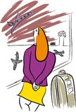 Traveller in the airport. NTravel Agency and tourism.nTraveling with a travel agency.nTourist on holiday.nVacation time for tourists vector illustration