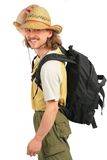 Traveller with backpack in straw hat Stock Images