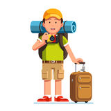 Traveller in baseball cap taking photo with camera. Tourist man standing with luggage and rucksack. Traveller in baseball cap taking photo with camera. Young stock illustration