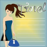 The traveller on a blue background. With a yellow sun, with place for your text - vector illustration Stock Photography