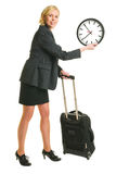 Traveller and clock Stock Images
