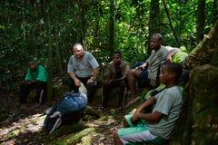 Traveller in Congo jungle Royalty Free Stock Photos