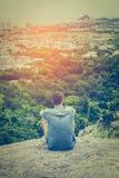 Traveller enjoying view point at Hua Hin Stock Photo