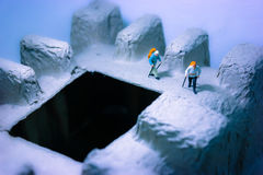 Traveller Expedition of ice valley. Expedition traveller to ice valley mountain stock images