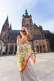 Traveller female on the background of the St. Vitus Cathedral, Prague, Czech Republic Royalty Free Stock Images