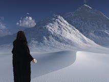 Traveller in furs. Traveller in bearskin cloak surveys frozen landscape stock illustration