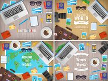 Traveller items on a wooden desk. Travel and Tourism. Vector Stock Photography