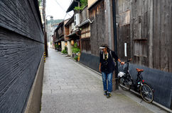 Traveller and japanese people go to most popular area of Gion Stock Images