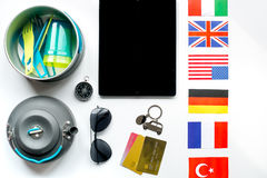 Traveller lifestyle items on white table background top view Royalty Free Stock Photo