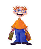 Traveller/Man with suitcases - Illustration - with clipping path Stock Image