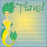 The traveller mermaid. On a blue background with a yellow sun, with place for your text - vector illustration Royalty Free Stock Images